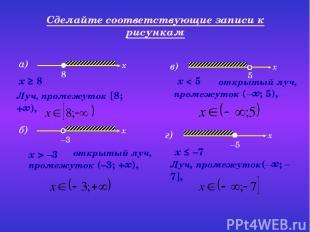 а) Сделайте соответствующие записи к рисункам Луч, промежуток [8; +∞), x ≥ 8 отк