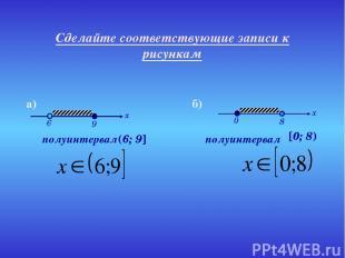 Сделайте соответствующие записи к рисункам полуинтервал полуинтервал (6; 9] [0;