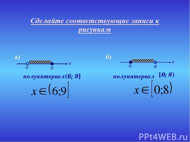 Сделайте соответствующие записи к рисункам полуинтервал полуинтервал (6; 9] [0; 8) а) б)