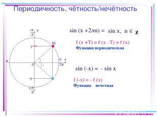 Периодичность, чётность/нечётность х у 0 0 М у 3 2 z sin (x +2 n) = sin х, n sin
