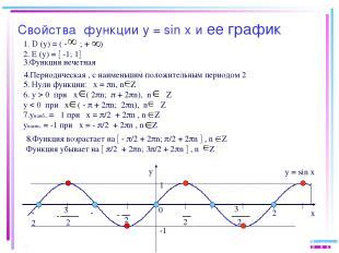Свойства функции у = sin х и ее график y x 0 2 π 2 π - - -π π 2π -2π 1 -1 1. D (