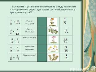 Вычислите и установите соответствие между названием и изображением редких цветко
