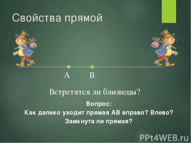 Свойства прямой Вопрос: Как далеко уходит прямая АВ вправо? Влево? Замкнута ли прямая? А В Встретятся ли близнецы?