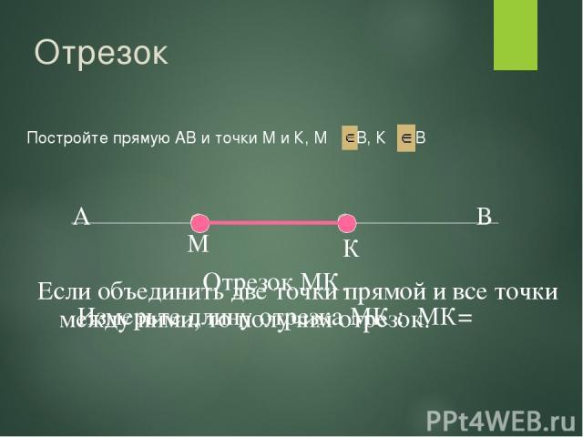 Отрезок Постройте прямую АВ и точки М и К, М АВ, К АВ М К Если объединить две точки прямой и все точки между ними, то получим отрезок. Отрезок МК. Измерьте длину отрезка МК : МК=