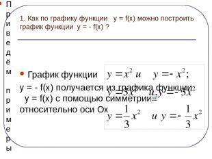 1. Как по графику функции y = f(x) можно построить график функции y = - f(x) ? Г