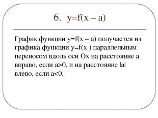 6. y=f(х – а) График функции y=f(x – a) получается из графика функции y=f(x ) па