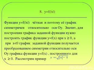 8. y=f(|x|) Функция y=f(|x|) чётная и поэтому её график симметричен относительно
