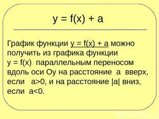 y = f(x) + a График функции y = f(x) + a можно получить из графика функции y = f