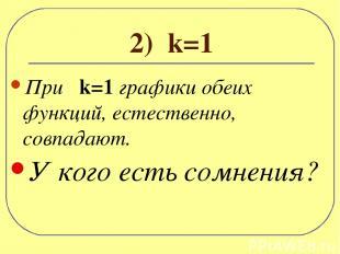 2) k=1 При k=1 графики обеих функций, естественно, совпадают. У кого есть сомнен