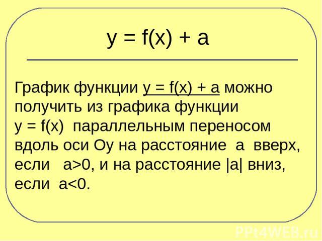 y = f(x) + a График функции y = f(x) + a можно получить из графика функции y = f(x) параллельным переносом вдоль оси Оу на расстояние а вверх, если а>0, и на расстояние |a| вниз, если а