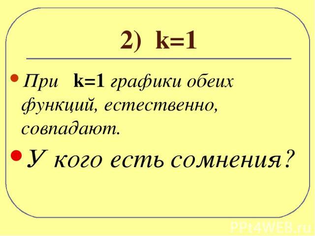 2) k=1 При k=1 графики обеих функций, естественно, совпадают. У кого есть сомнения?