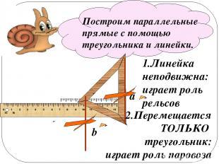 Построим параллельные прямые с помощью треугольника и линейки. a b 1.Линейка неп