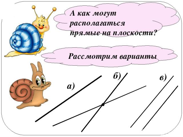 a) А как могут располагаться прямые на плоскости? Рассмотрим варианты б) в)