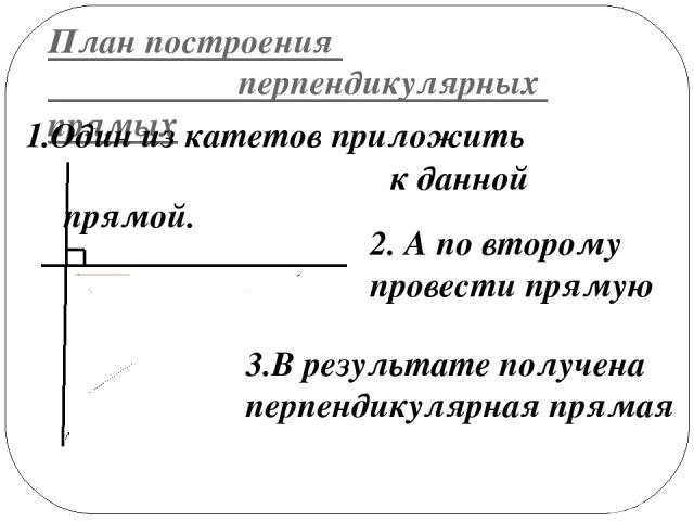 План построения перпендикулярных прямых 1.Один из катетов приложить к данной прямой. 2. А по второму провести прямую 3.В результате получена перпендикулярная прямая