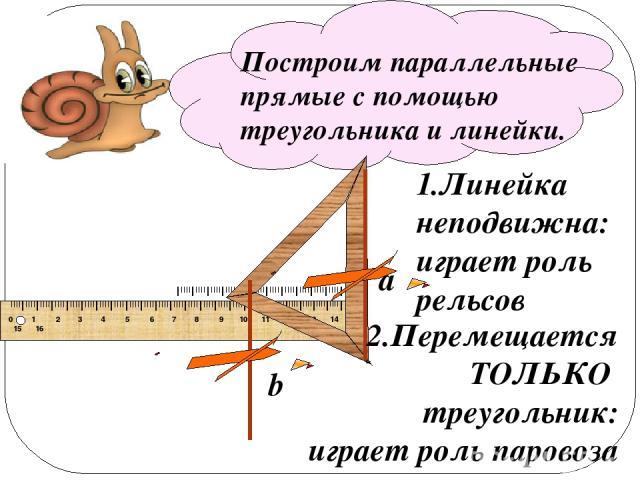 Построим параллельные прямые с помощью треугольника и линейки. a b 1.Линейка неподвижна: играет роль рельсов 2.Перемещается ТОЛЬКО треугольник: играет роль паровоза IIIIIIIIIIIIIIIIIIIIIIIIIIIIIIIIIIIIIIIIIIIIIIIIIIIIIIIIIIIIIIIIIIIIIIIIIIIIIIIIIIII…