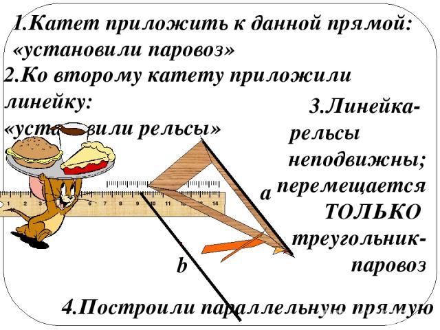 a b 1.Катет приложить к данной прямой: «установили паровоз» 2.Ко второму катету приложили линейку: «установили рельсы» 3.Линейка- рельсы неподвижны; перемещается ТОЛЬКО треугольник-паровоз 4.Построили параллельную прямую IIIIIIIIIIIIIIIIIIIIIIIIIIII…