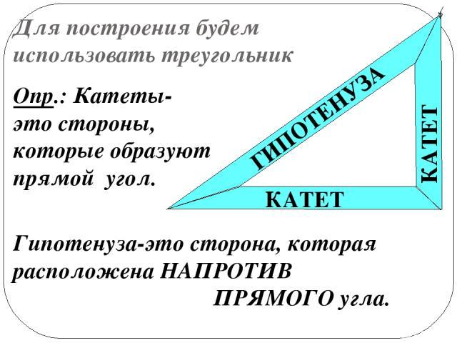 Для построения будем использовать треугольник КАТЕТ КАТЕТ ГИПОТЕНУЗА Опр.: Катеты- это стороны, которые образуют прямой угол. Гипотенуза-это сторона, которая расположена НАПРОТИВ ПРЯМОГО угла.