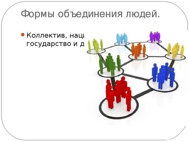 Формы объединения людей. Коллектив, нация, государство и др.