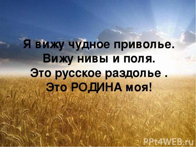 Я вижу чудное приволье. Вижу нивы и поля. Это русское раздолье . Это РОДИНА моя!