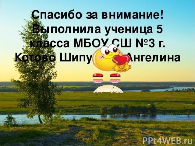 Спасибо за внимание! Выполнила ученица 5 класса МБОУ СШ №3 г. Котово Шипулина Ангелина