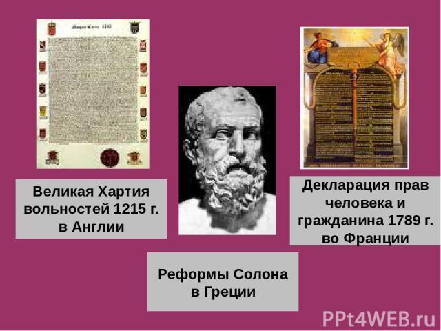 Великая Хартия вольностей 1215 г. в Англии Реформы Солона в Греции Декларация прав человека и гражданина 1789 г. во Франции