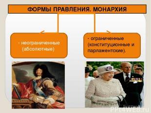 ФОРМЫ ПРАВЛЕНИЯ. МОНАРХИЯ - неограниченные (абсолютные) - ограниченные (конститу