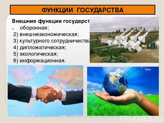 ФУНКЦИИ ГОСУДАРСТВА Внешние функции государства оборонная; 2) внешнеэкономическая; 3) культурного сотрудничества; 4) дипломатическая; 5) экологическая; 6) информационная.