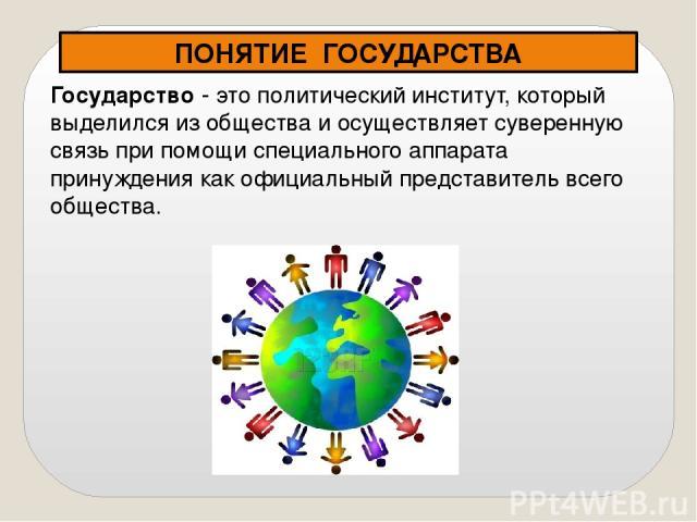 Государство - это политический институт, который выделился из общества и осуществляет суверенную связь при помощи специального аппарата принуждения как официальный представитель всего общества. ПОНЯТИЕ ГОСУДАРСТВА