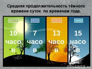 Средняя продолжительность тёмного времени суток по временам года. ЛЕТО ОСЕНЬ ЗИМ