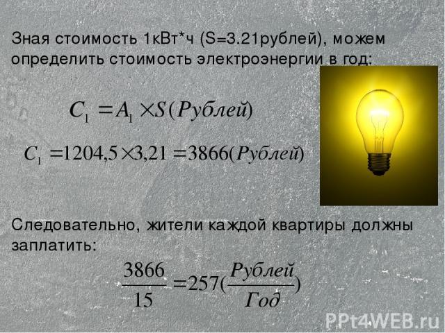 Зная стоимость 1кВт*ч (S=3.21рублей), можем определить стоимость электроэнергии в год: Следовательно, жители каждой квартиры должны заплатить: