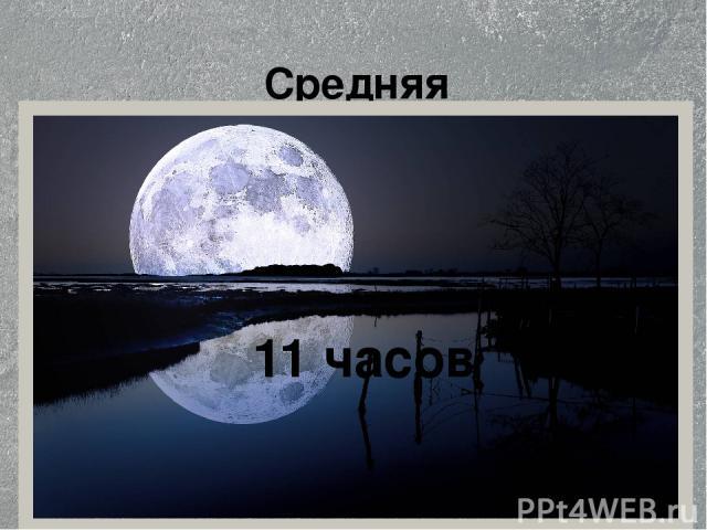 Средняя продолжительность тёмного времени суток за год. 11 часов