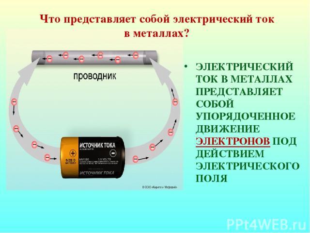 ЭЛЕКТРИЧЕСКИЙ ТОК В МЕТАЛЛАХ ПРЕДСТАВЛЯЕТ СОБОЙ УПОРЯДОЧЕННОЕ ДВИЖЕНИЕ ЭЛЕКТРОНОВ ПОД ДЕЙСТВИЕМ ЭЛЕКТРИЧЕСКОГО ПОЛЯ Что представляет собой электрический ток в металлах?