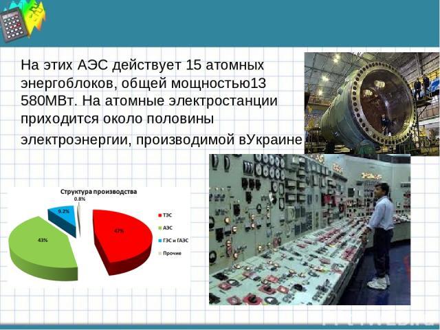 На этих АЭС действует 15 атомных энергоблоков, общей мощностью13 580МВт. На атомные электростанции приходится около половины электроэнергии, производимой вУкраине