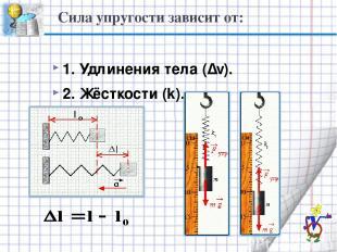 Сила упругости зависит от: 1. Удлинения тела (∆ℓ). 2. Жёсткости (k).