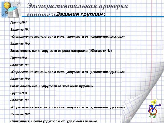 Экспериментальная проверка гипотезы. Задания группам: Группе№1 Задание №1 «Определение зависимости силы упругости от удлинения пружины» Задание №2 Зависимость силы упругости от рода материала (Жёсткости -k ) Группе№2 Задание №1 «Определение зависимо…