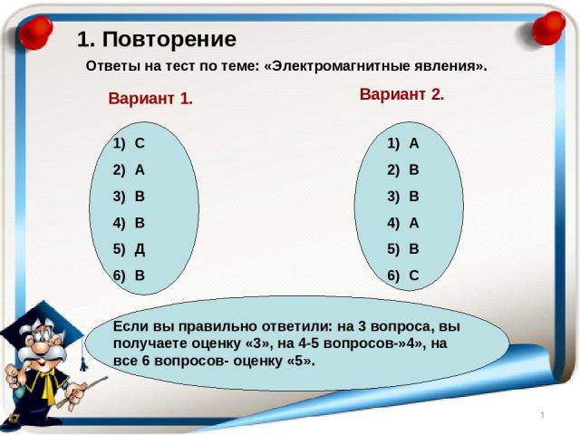 1. Повторение Ответы на тест по теме: «Электромагнитные явления». Вариант 1. Вариант 2. С А В В Д В А В В А В С Если вы правильно ответили: на 3 вопроса, вы получаете оценку «3», на 4-5 вопросов-»4», на все 6 вопросов- оценку «5».