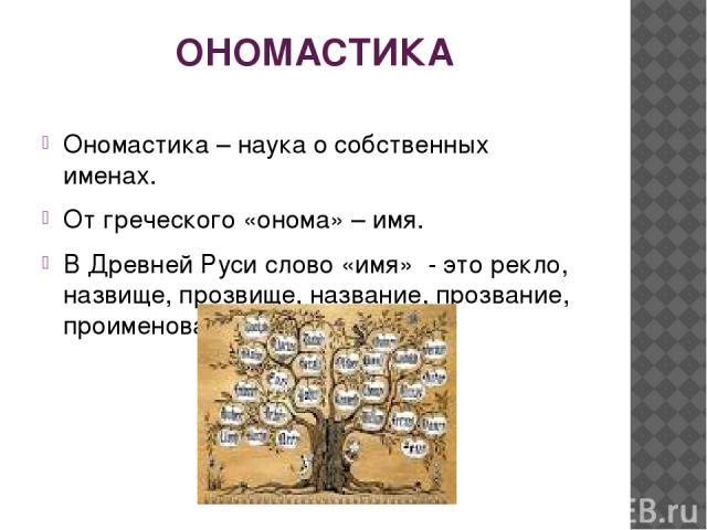ОНОМАСТИКА Ономастика – наука о собственных именах. От греческого «онома» – имя. В Древней Руси слово «имя» - это рекло, назвище, прозвище, название, прозвание, проименование.