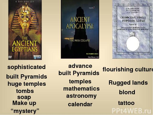 """sophisticated built Pyramids huge temples tombs soap Make up """"mystery"""" advance built Pyramids temples mathematics astronomy calendar flourishing culture Rugged lands blond tattoo"""