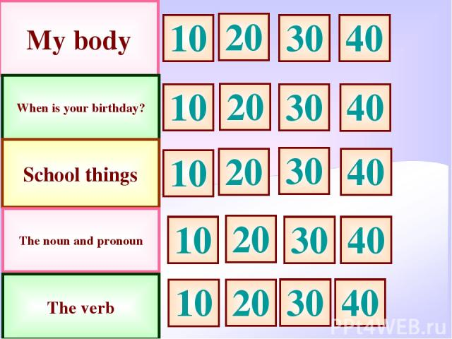 My body When is your birthday? School things 10 30 20 10 10 20 20 30 30 The noun and pronoun The verb 40 40 40 10 30 20 10 20 30 40 40