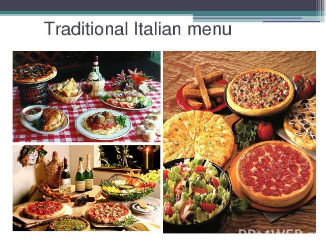 Traditional Italian menu