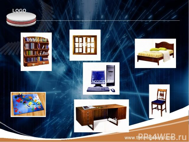 www.themegallery.com bookcase window bed carpet computer desk chair LOGO