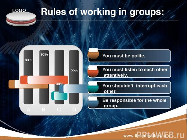 www.themegallery.com A B C D 80% 90% 30% 55% You must respect each other. You must listen to each other attentively. You shouldn't interrupt each other. Be responsible for the whole group. Rules of working in groups: You must be polite. LOGO