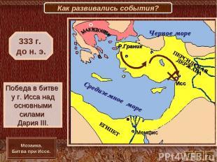 Исс Мемфис Р.Граник Победа в битве у г. Исса над основными силами Дария III. 333