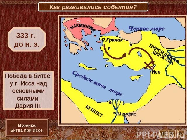Исс Мемфис Р.Граник Победа в битве у г. Исса над основными силами Дария III. 333 г. до н. э. Мозаика. Битва при Иссе. Как развивались события?