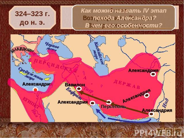 324–323 г. до н. э. 4 этап. Возвращение в Вавилон. Завершение похода. Как можно назвать IV этап похода Александра? В чем его особенности?