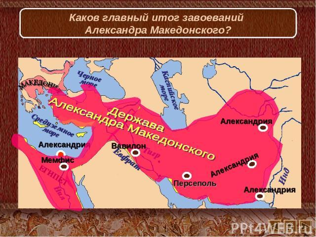 Каков главный итог завоеваний Александра Македонского?