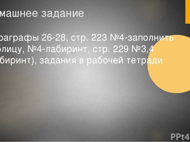 Домашнее задание Параграфы 26-28, стр. 223 №4-заполнить таблицу, №4-лабиринт, стр. 229 №3,4 (лабиринт), задания в рабочей тетради