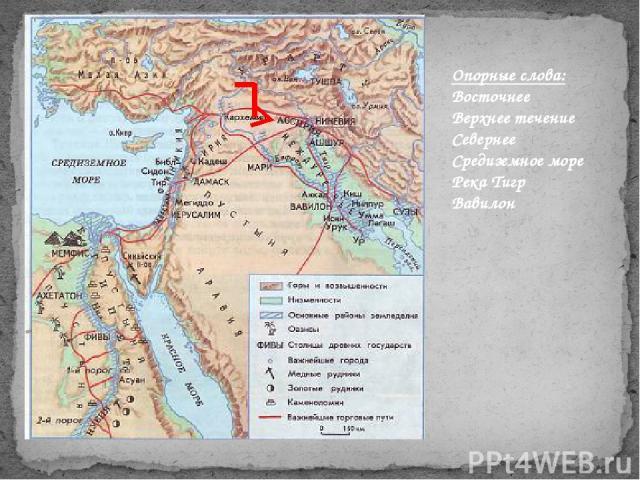 Опорные слова: Восточнее Верхнее течение Севернее Средиземное море Река Тигр Вавилон
