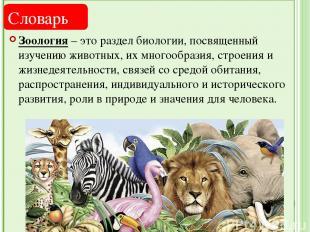 Зоология – это раздел биологии, посвященный изучению животных, их многообразия,