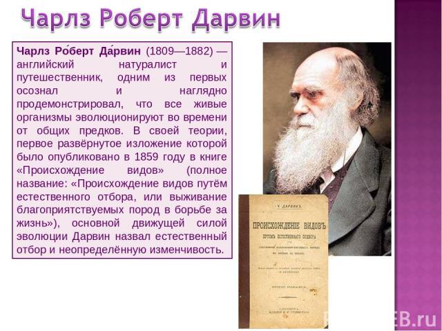 Чарлз Ро берт Да рвин (1809—1882)— английский натуралист и путешественник, одним из первых осознал и наглядно продемонстрировал, что все живые организмы эволюционируют во времени от общих предков. В своей теории, первое развёрнутое изложение которо…